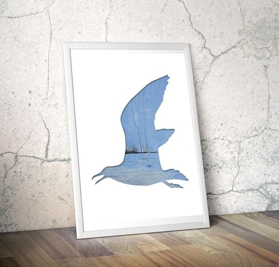 seagull silhouette in blue, flying bird digital silhouette print, 11x14 poster, animal art, minimal wall decor, cyan, reclaimed wood art