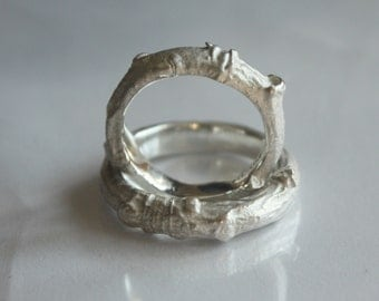 BEAUTY of NATURE. One twig ring in solid sterling silver. Oxidized or white finish. Bold style. Cast out of real twig.