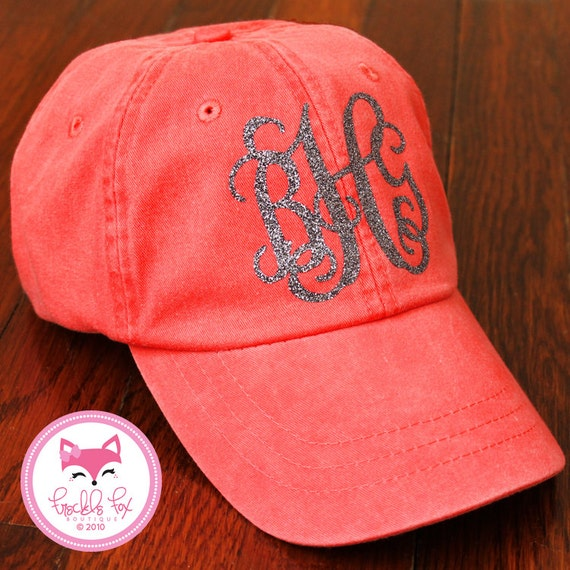 Items Similar To Monogram Hat In Glitter Baseball Cap
