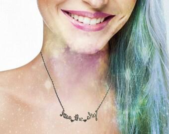 Kiss the Sky Necklace - Excuse Me While I Kiss The Sky - Lyrics Jewelry - Jimi Hendrix Purple Haze