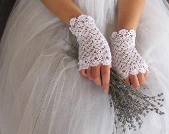White Bridal Gloves, Wedding Gloves, Bridal Lace Gloves, Summer Fingerless Gloves, Crochet Gloves, Bridal Gloves, Ivory Gloves, Black Gloves