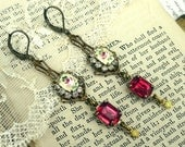 My French Rose, Vintage Pink Rose Guilloche Enamel, Rose Pink Rhinestones, Yellow Opal Swarovski Rhinestone Assemblage Earrings