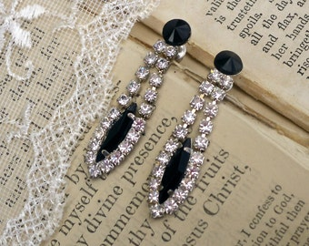 Jet Black and Crystal, Vintage Jet Black and Crystal Clear Rhinestone Dangle Post Earrings
