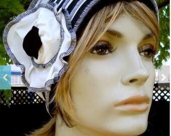 Womens Chemo hat Black and White Stripe Summer beanie  Soft Chemo headwear Cloche Flapper hat Bohemian  hat with white flower