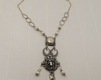 Vintage upcycled-repurposed-chandelier crystal-vintage earring-pearls-Assemblage Necklace