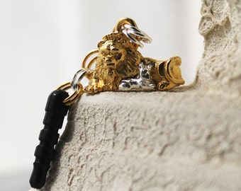 Peaceful Phone Charm - Gold & Silver Plated Pewter Lion and Lamb Charm, Dust Plug Charm, iPhone Accessory