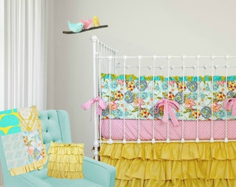 Custom Baby Girl Crib Bedding-  Lily Belle Design