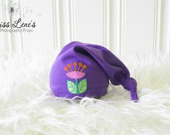 Newborn Girl Photo Props, Baby Girl Sleepy Cap, Newborn Baby Girl Flower Hat, Purple Newborn Hat, Newborn Stocking Cap, Photography Props
