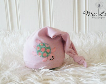 Newborn Baby Knot Hat, Baby Girl Turtle Hat, Pink Sleepy Cap, Newborn Baby Girl Photo Prop, Cotton Jersey Hat, Newborn Photography Prop