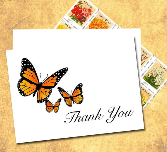 Butterfly Thank You Note Cards Monarch Butterfly Fall