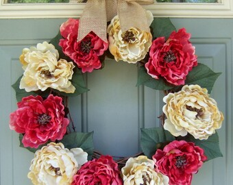 Summer Wreath - Summer Peony Wreath - Spring Door Wreath
