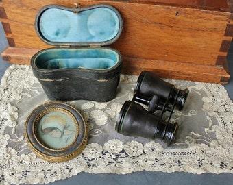 Antique Lemaire Fabt Paris Opera Glasses Binoculars with Original Silk Lined Leather Case    SALE - was 68.00