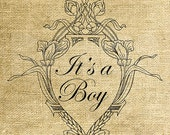 INSTANT DOWNLOAD - Vintage Frame It's a Boy - Download and Print - Image Transfer - Digital Sheet by Room29 - Sheet no. 1190