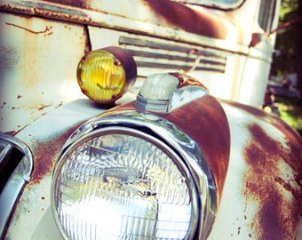 Vintage Chevy Truck Photo, Fine Art Photography Print, One Headlight, Rusty Lights, Masculine, Gift for Him