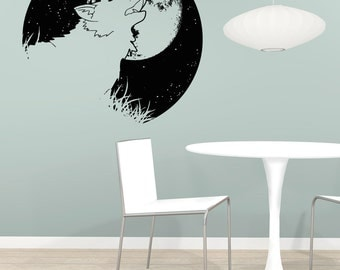 Vinyl Wall Decal Sticker Wolf and Moon OSAA1649s