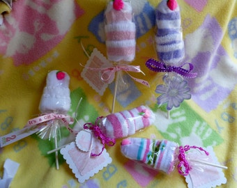 Baby Sock Lollipop...Baby Socks..Baby Popsicle ... Boy, Girl or Neutral..Baby Shower Favors..Baby Gift..Baby Wants a Lollipop  :)