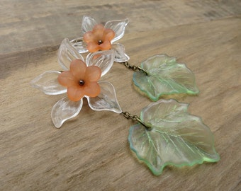Daffodil Flower Dangle Earrings, spring statement earrings in peach orange and green, unique festive floral jewelry