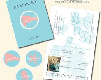 Passport Save the Date - Destination Wedding - DIY Printable or Printed - Passport to Party #00030-STDFC