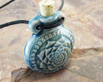 Peruvian Ceramic Raku Lotus Bottle
