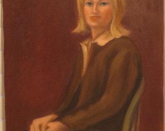 Vintage Oil Portrait BLONDE Woman in BROWN Jacket Impressionistc.1970s Painting