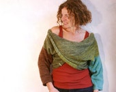 Olive Aqua Brown  | color blocked X-Tee | weekend sweater | boxy chunky warm | mohair sweater top |  reversible top |  chunky knit top