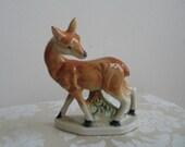 Vintage Deer Ceramic Statue Doe Fawn Figurine, Mid Century Retro Woodlands, Japan