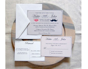 Mustache and Lips Wedding Invitation Suite, Hipster Lips and Stache Wedding Invite, Elegant Chic Stache and Lips Wedding Invitation