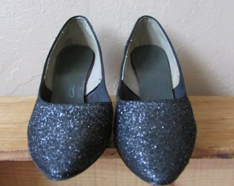 7 sparkly metallic silver gunmetal pointed toe vintage 80s pumps heels shoes - seven