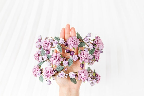purple woodland hair wreath // forest inspired flower crown, roses, berries, wedding headpiece, bridal flowers, garden party - 'Adeline'
