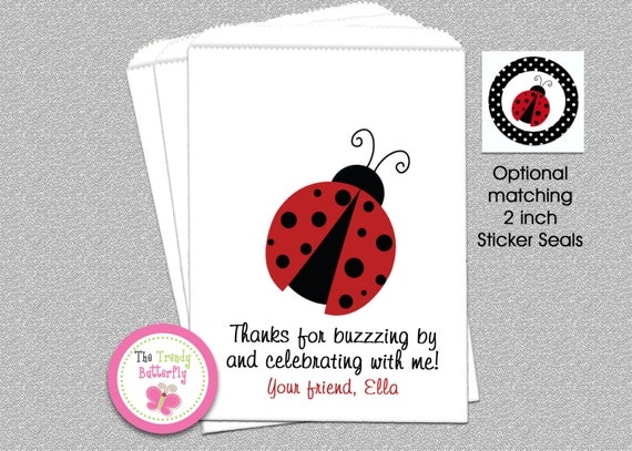 Ladybug Birthday Party, Ladybug Goody Bags, Candy Bags, Party Favor Bag
