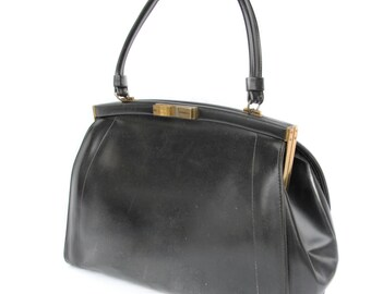Audrey, French Vintage, 1950s Black Leather Envelope Handbag, from Paris