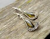 Olive Green Quartz Wire Wrapped Spring Dangle Earrings OOAK