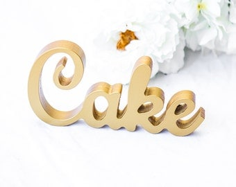 """Wedding Cake Table Sign, Wooden Painted Freestanding """"Cake"""" Sign, Wooden Letters Cutout Wedding Reception Sign Decoration (Item - TCK200)"""