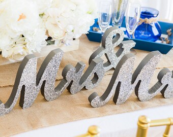 Mr and Mrs Wedding Signs - Mr & Mrs Wooden Letters Glittered or Colorful Freestanding Script Signs  (Item - MTS100)