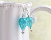 Turquoise and silver hot air balloon earrings - blown glass beads with tones of silver - Robins Egg Blue Earrings - Wedding jewelry