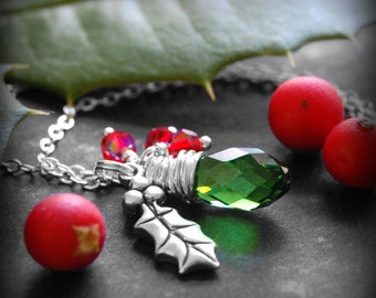 Holly Leaf Necklace, Red and Green Swarovski Crystal Necklace, Sterling Silver Holly Leaf Charm, Holly Berries, Christmas Jewelry