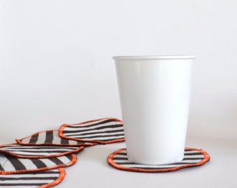 reversible textile coasters - black and white  striped with orange accents - set of 6x - striped - modern home gift  - fabric coasters