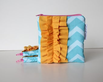 small ruffle zipper pouch -- turquoise & mustard