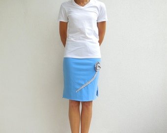 Womens Skirt Women's T Shirt Skirt Recycled TShirt Skirt Blue Gray Upcycled T Shirt Skirt Handmade Cotton Gift For Her Summer Skirt ohzie