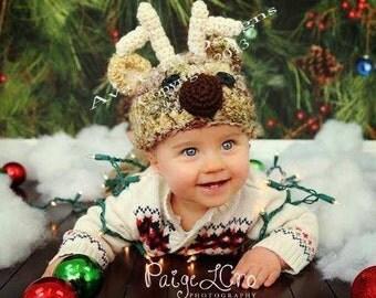 Animal hat, Reindeer hat, baby reindeer hat, Christmas hat, child reindeer hat, adult reindeer hat, holiday hat, crochet hat