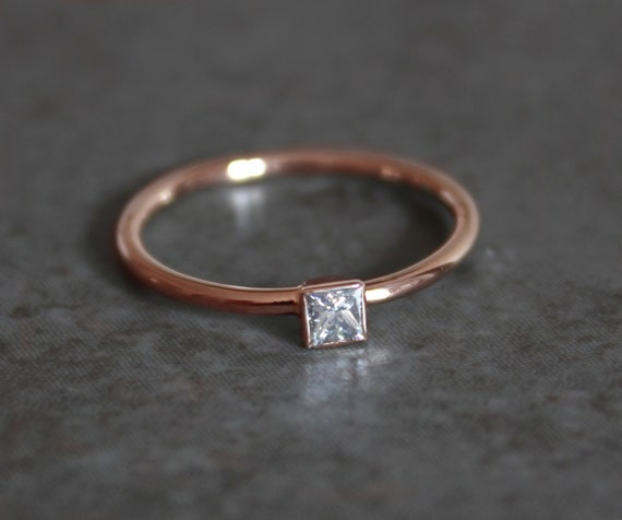 Simple Princess Diamond Engagement Ring 14k Rose Gold