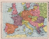 southern central Europe map, pre WW2 Europe map. school map