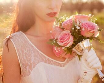 VTG 50s EMMA DOMB Lace & Taffeta  Ivory Hollywood Starlet Wedding Dress Sz 10-12 Empire Waist