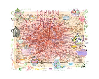 London afternoon tea illustrated map poster print, Pink Home decor, Kitchen wall art, English tea time illustration, Giclee print