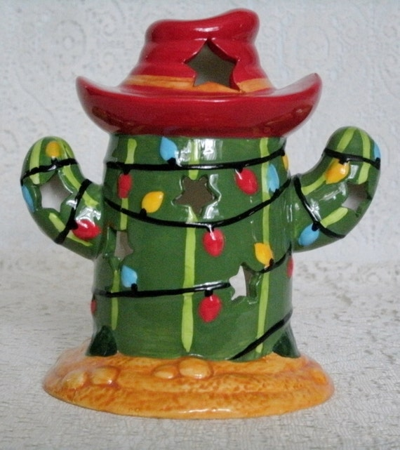Cactus Decorated For Christmas: Handpainted Christmas Cactus Candleholder Holidays By