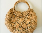 Vintage Purse - jute bohemian flower beach tote