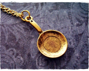Gold Frying Pan Necklace - Antique Gold Pewter Frying Pan Charm on a Delicate Gold Plated Cable Chain or Charm Only