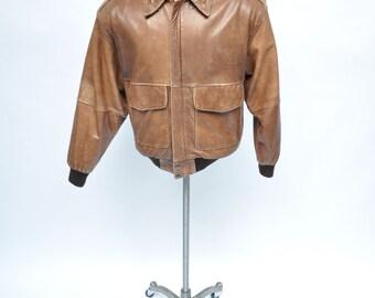 vintage leather jacket  A-2 bomber flight jacket 1980s a2 medium