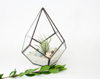 Geometric Terrarium Pod, Air Plant Glass Terrarium, Glass Planter DIY Kit, Housewarming Gift, Clear Glass Planter