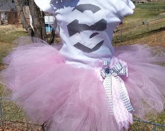 Pink and Gray Chevron Tutu Outfit